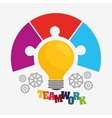 bulb gears puzzle teamwork support design vector image vector image