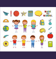 bundle students group and back to school icons vector image