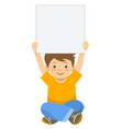 cartoon boy holding up blank sign template vector image vector image
