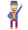 Circus performer pointing up with finger vector image