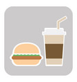 coffee and burger fast food old background - vector image vector image