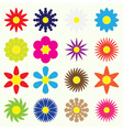colorful simple retro small flowers set of symbol vector image vector image