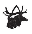 deer portrait silhouette vector image vector image