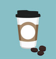 disposable coffee cup icon with coffee beans on vector image vector image