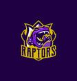 emblem an aggressive dinosaur sharp teeth vector image