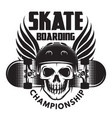 emblem for skateboarding with skull wings and vector image