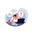 exhausted man working as financial analyst vector image vector image