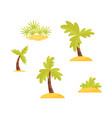 flat set of bright green palms trees and vector image