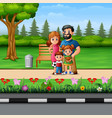 funny cartoon family in beautiful park vector image vector image