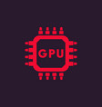 gpu icon graphic chipset vector image vector image