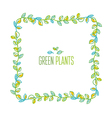 Green leaves frame design element in hand drawn vector image vector image