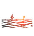 hand drawn man walking on maze to navigation flag vector image