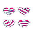 hearts with ribbon banners 3 vector image