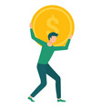 man carrying golden coin with dollar sign on back vector image