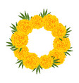 marigold flower - tagetes wreath vector image vector image