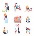 parents spending time with kids set mother and vector image vector image