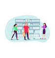 people shopping at supermarket and buying product vector image