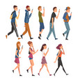 people walking outside set young men and women vector image
