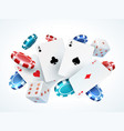 playing cards chips dice casino poker gambling vector image