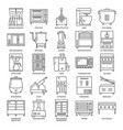 professional kitchen equipment icon set in line vector image vector image