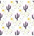 Purple and white cactus desert seamless pattern vector image