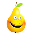 raw pear cartoon character vector image vector image