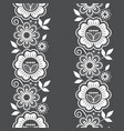 seamless lace vertivcal long pattern set vector image vector image