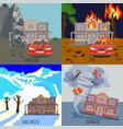 set natural disasters banners landslide fire vector image