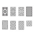 set of chinese pattern window frame vector image vector image
