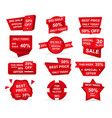 set retail red sale banner deal stickers vector image vector image