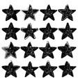 set sixteen grunge stars vector image vector image