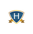 shield ribbon letter h vector image vector image