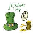 st patricks day hand drawn doodle set with irish vector image vector image