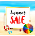 summer sale titile on white rectangle over vector image vector image