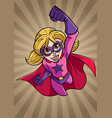 super girl flying ray light background vector image vector image