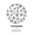 teamwork signs round design template thin line vector image