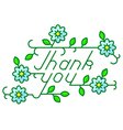 Thank you lettering composition with flowers vector image