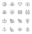 tree and leaf line icons set natural stroke vector image