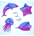 Watercolor sealife silhouettes set vector image vector image