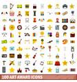 100 art award icons set flat style