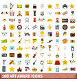 100 art award icons set flat style vector image