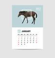 2017 January calendar horse polygon vector image vector image