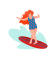 beautiful woman riding surfboard girl doing vector image vector image