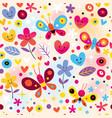 butterflies hearts flowers pattern vector image vector image