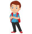 cartoon school boy with a backpack vector image vector image
