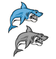 cartoon shark set vector image vector image