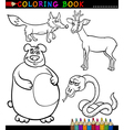Cartoon Wild Animals for Coloring Book vector image vector image