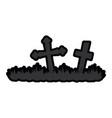 cemetery scene isolated icon vector image
