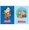 christmas banner button in snow winter holidays vector image vector image