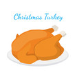 christmas turkey thanksgiving food flat vector image